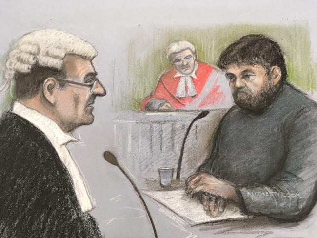 Court artist sketch by Elizabeth Cook of Carl Beech being questioned by QC Mr Collingwood Thompson at Newcastle Crown Court earlier this month. Image: Elizabeth Cook /PA Wire