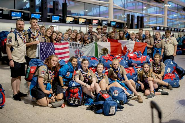 Scouts from Unit 27, The Swan and Fox (Kingston) on their way to the US for the World Scout Jamboree