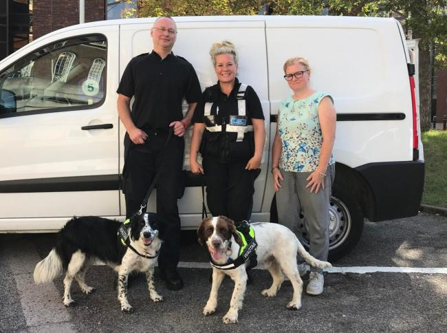 Lee Christensen, mobile enforcement officer at HMRC, Penny Chaplin, dog handler at Wagtail Detection Dogs and Sarah Littell, lead officer for trading standards at Kingston Council, with sniffer dogs Molly and Milo