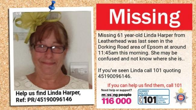 Linda Harp0er was last seen on Dorking Road in Espsom.