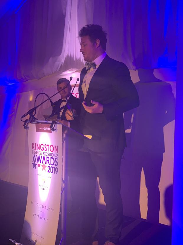Surrey Comet: Dan Cunliffe gives an acceptance speech at the Awards Ceremony in Surbiton. Image: Kingston Awards via Twitter
