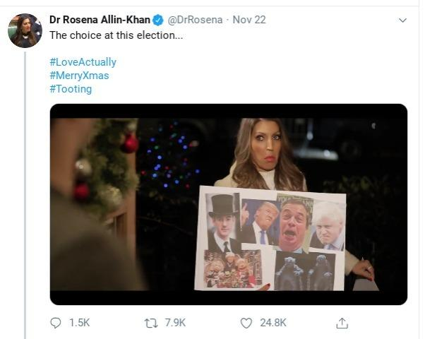 Screenshot of Dr Rosena Allin-Khan\'s Twitter video inspired by Love Actually. Credit - Dr Rosena Allin-Khan.