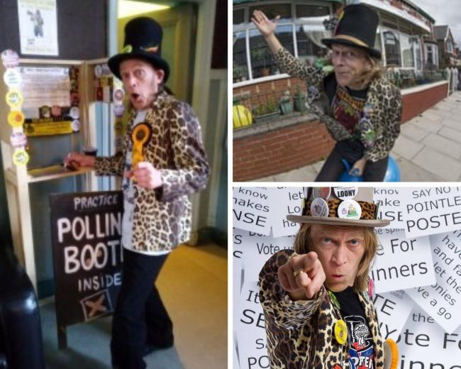 Chinners Chinnery, The Official Monster Raving Loony Party Candidate for Kingston and Surbiton. Credit - http://www.phototed.co.uk. Free for reuse
