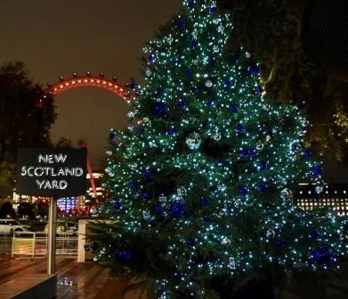Christmas tree lights outside New Scotland Yard.