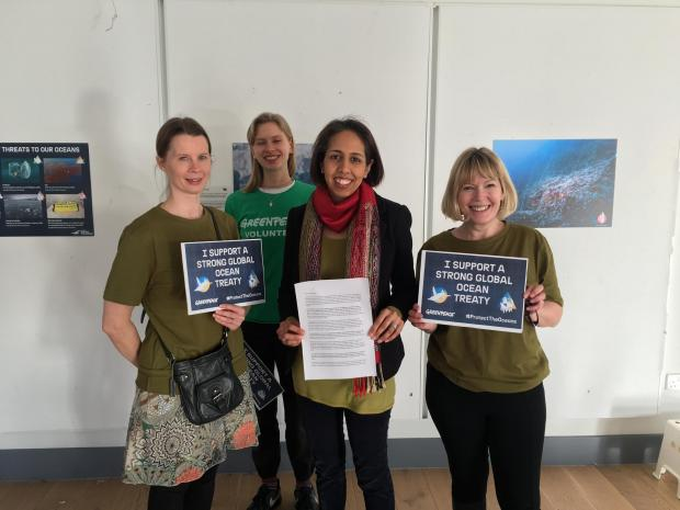 Surrey Comet: Munira Wilson MP with Greenpeace volunteers