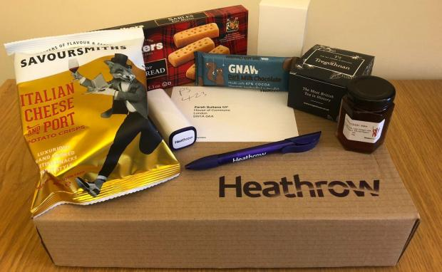 Surrey Comet: twitter feed of Labour MP Zarah Sultana of a package sent to her by the team behind the Heathrow expansion. Image: Zarah Sultana