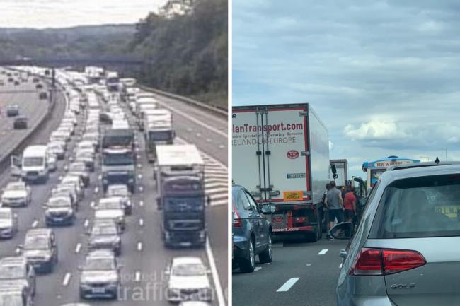 Traffic has piled up on the M25 after a 'serious accident' involving a motorbike, but some people have found solace with a nearby ice cream van.