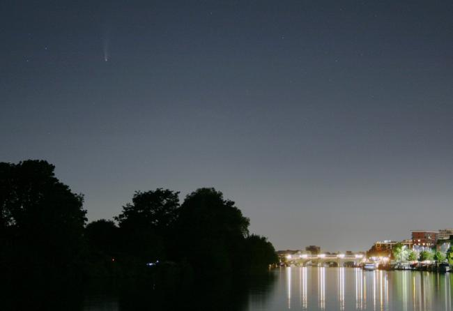 Comet Neowise, seen over Queen's Promenade in Kingston, Friday July 17. Image: Jean-Christophe Nebel