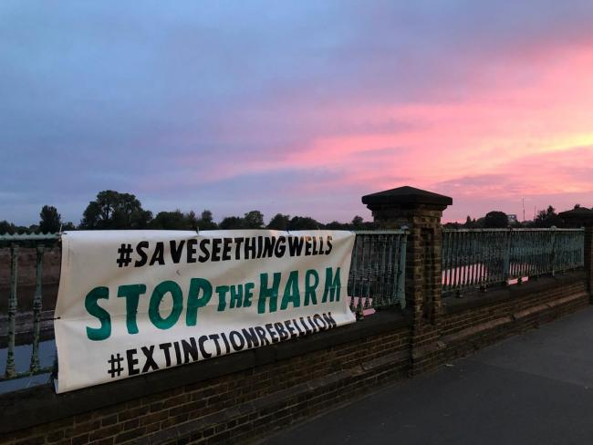 Banner calling for the end of development at the Seething Wells site in Surbiton. Image: XRKingston