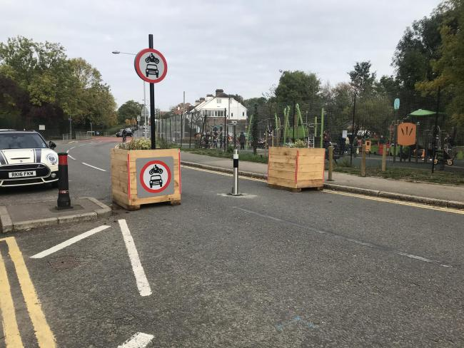 The new Low Traffic Neighborhood  scheme on King Charles road outside the Alexandra Park play area.