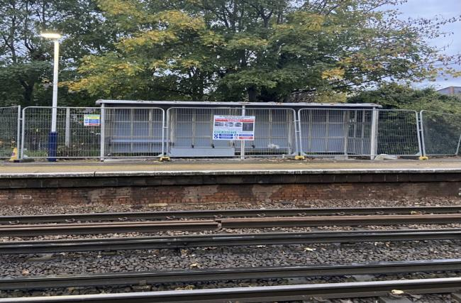 The newly-built shelter at Strawberry Hill Station