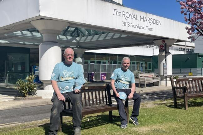 Andrew ( left ) and Dave (right) raise awareness with cancer walk