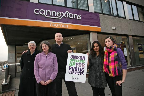 Connexions workers outside one of the branches during their fight for payouts