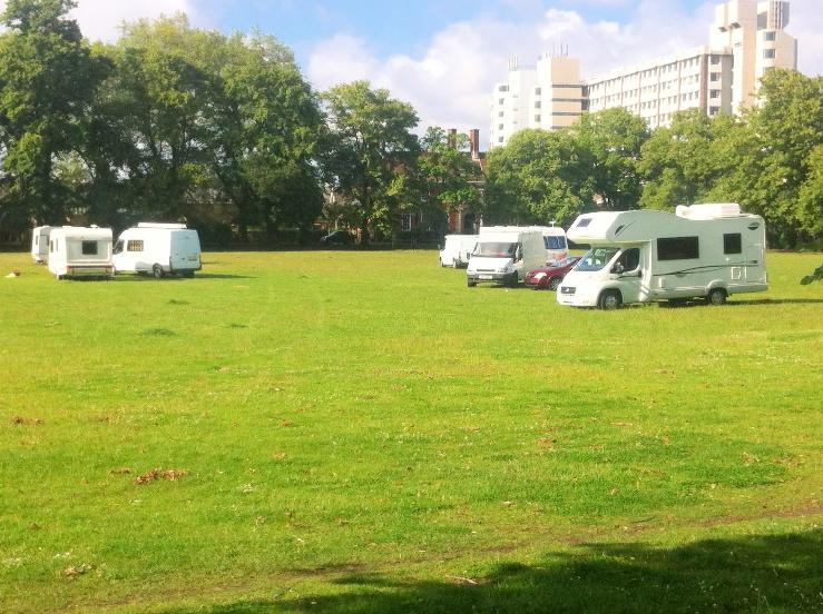 Travellers move in on Kingston recreation ground
