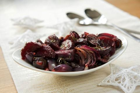 Roast beetroot, Red Onion & Chestnuts with Maple syrup