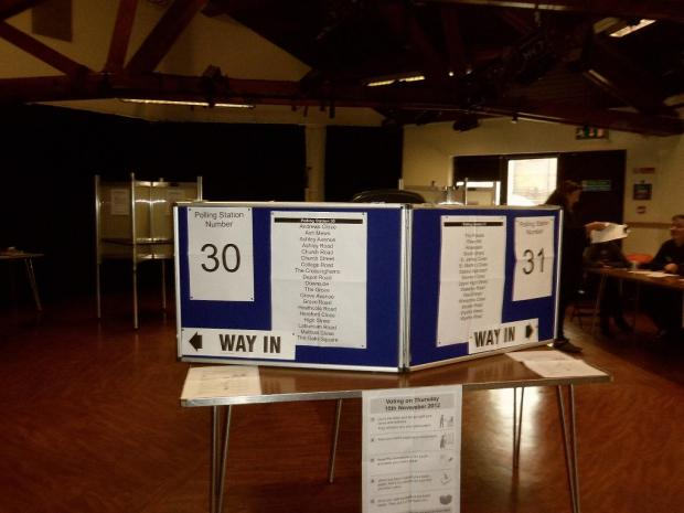 The empty polling station at the Epsom Playhouse, in Ashley Avenue, Epsom yesterday morning