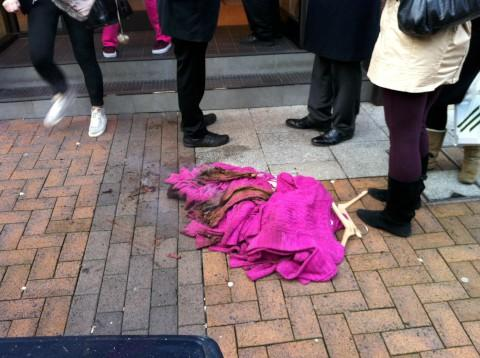 Clothes were extinguished outside the department store