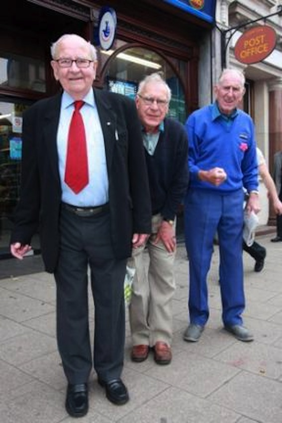 Doug Reynolds (front), now an MBE, protesting about post office queues in 2008