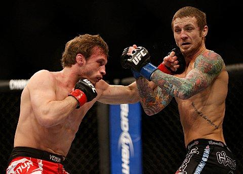 Hitting out: Brad Pickett lands one on Eddie Wineland on Saturday   Picture: Josh Hedges