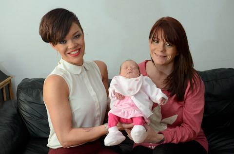 Delivered a gem: L-R Jade McQueen and mum Sara Crowden with baby Karis.