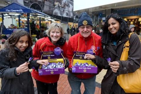 Kingston Rotarians Roshni Barrass, 9, Pauline Colley, Brian Stickland and Nalini Barrass braved the snow on Saturday.