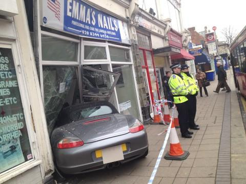 A silver Porsche Boxster crashed into Emma's Nails in Surbiton