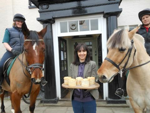 Hay there: Horses check out some pies