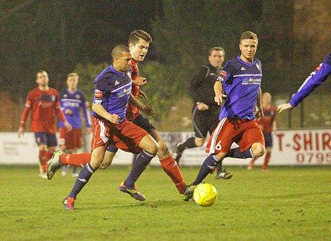 Police shield: Howard Turner protects possession in the 0-0 draw with Hampton & Richmond   SP74517
