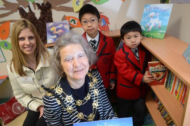 L-R: Headteacher Jacqui Birchall, Mayor Councillor Christine Long, Max Yu and Jonas Yu