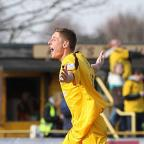 You beauty: Harry Beautyman celebrates hitting Sutton United's second goal against Billericay on Saturday    Picture: Paul Loughlin