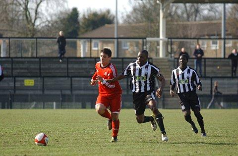 Experienced man: Jamie Lawrence for Tooting & Mitcham against Walton & Hersham