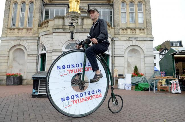 Cyclist Joff Summerfield on his penny farthing at the launch of RideLondon in Kingston