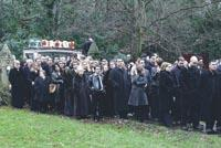 Mourners at Joey Evans' funeral.
