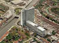 This aerial picture of Tolworth Tower in the 1990s shows its dramatic impact on the local landscape. An Odeon cinema was one of the buildings that had to be razed to make way for it.
