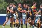 Happy days: Centre Jay Udo-Udoma, left, celebrates the try that gave Esher a 13-7 half time lead in Saturday's win	  	Deadlinepix SP79128