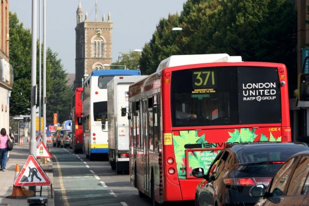 Surrey Comet: cars and buses in London Road queue at the fatberg roadworks