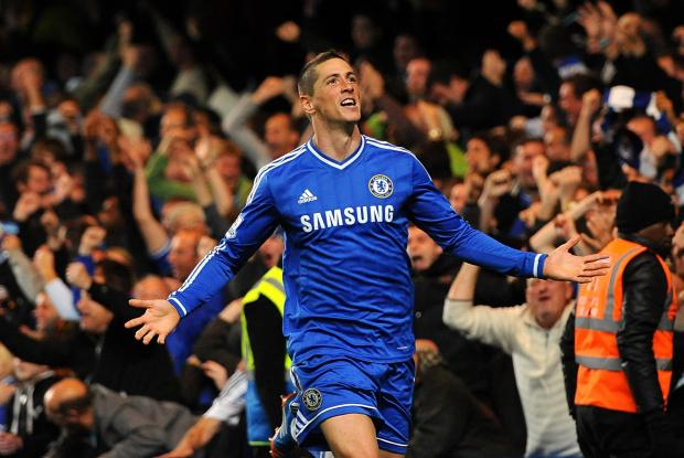 Fernando Torres after scoring his late winner against Manchester City in October 2013. One of only 20 goals scored in three years.