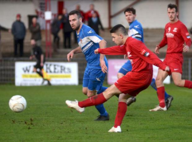 Bang: Tommy Bradford fires the Robins level in the 2-1 FA Trophy win over Egham Town on Saturday              All pictures: SP80575