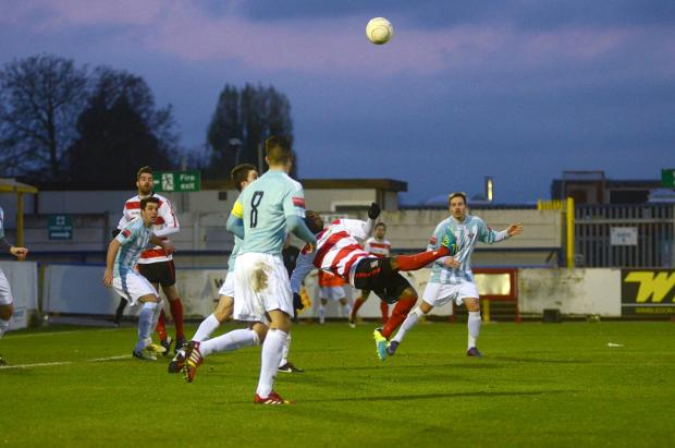 Spectacular: Kingstonian Andre McCollin scored a spectacular goal against Lewes on Saturday