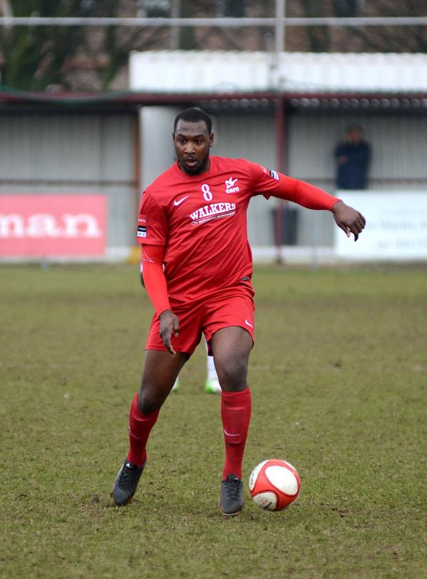 Surrey Comet: Hakeem Adelakun playing for Carshalton Athletic