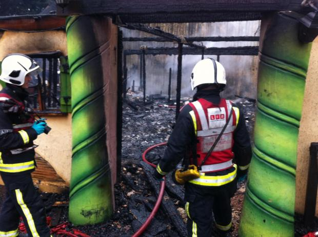 Gutted: The remains of the Creaky Café at Chessington World of Adventures. Photo: London Fire Brigade