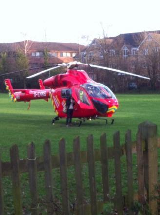 The London Air Ambulance in Fishponds this afternoon. Picture by Mike Underwood