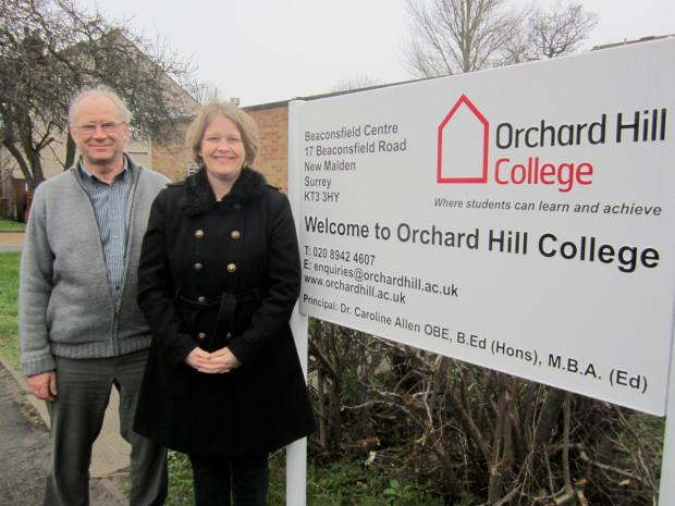 Councillors David Ryder-Mills and Liz Green during a visit to Orchard Hill College this week