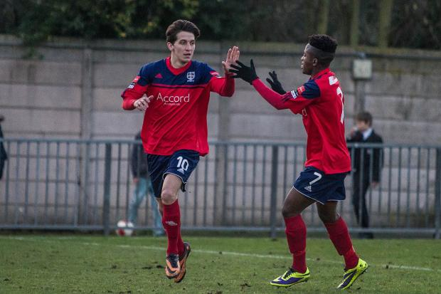Surrey Comet: I'm on fire: Hampton striker Charlie Moone celebrates his first goal in Saturday's 2-2 draw at Dulwich Hamlet