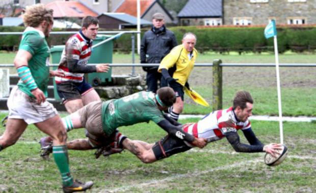 Surrey Comet: Over: Ed Lewis Pratt scores Park's first try on Wharfedale's slopping pitch               All pictures: David Whittam
