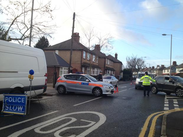 Police direct traffic in Fuller's Way North