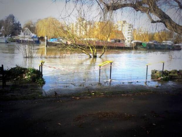 The Thames at Canbury Gardens this morning. Picture by Adam White