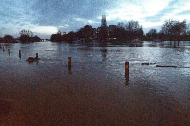 Floods: The Thames at Lower Ham Road last night