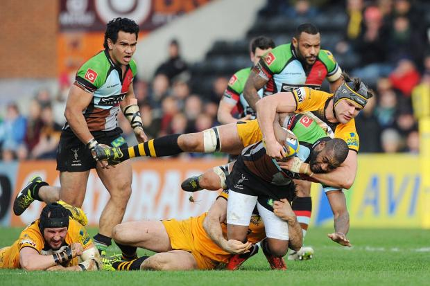 Battle hardened: Quins winger Ugo Monye is halted by Wasps lock Tom Palmer, with Maurie Fa'asavalu and Jordan Turner Hall in close attendance