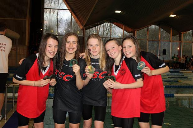 Medal magic: Teddington youngsters Alice Smail, Thalia Poaros, Alice Patterson, Sophie Johnson, Tanya Ferguson